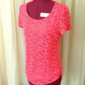 GEORGE Coral Lace Short Sleeved Top Ladies S (4-6)